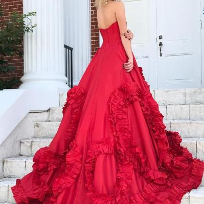 Princess Strapless Red Long Prom Dr..