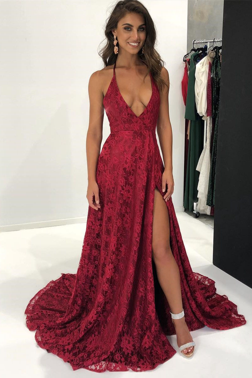 73ceee38a4b Sexy Halter Wine Red Lace Long Formal Evening Dress on Luulla
