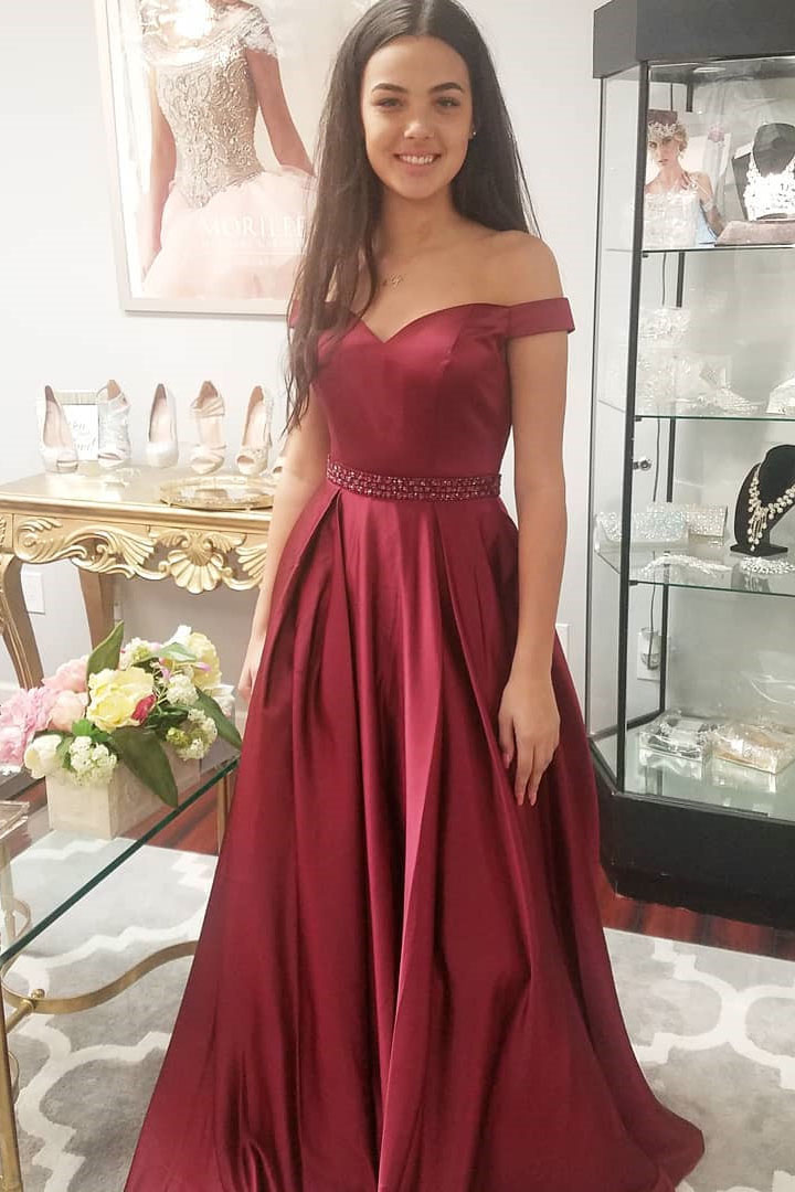 dace8470946 Elegant Off The Shoulder Burgundy Long Prom Dress Party Dress on Luulla