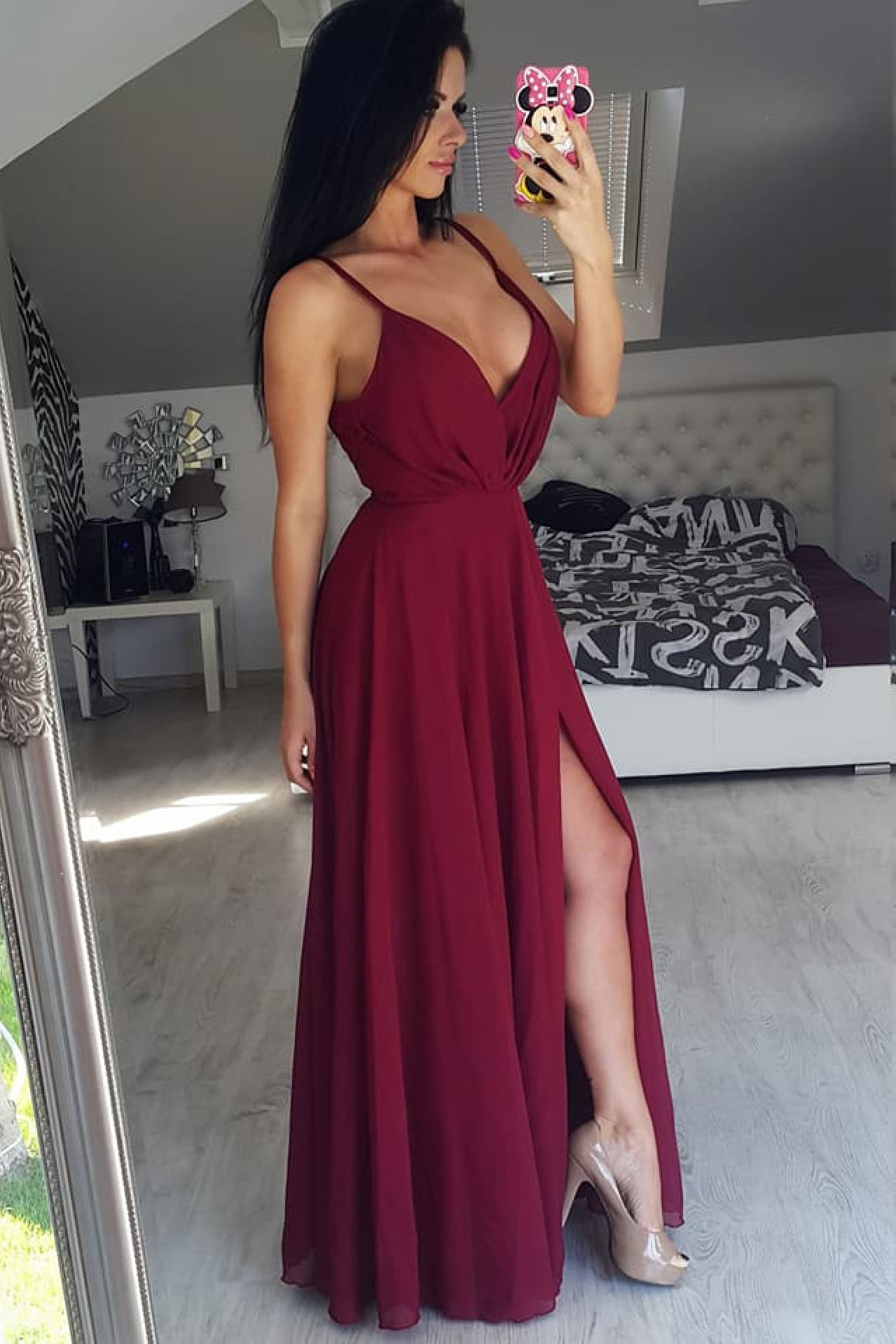 912549c6abd Simply Elegant Straps Burgundy Long Chiffon Prom Dress with Side Slit