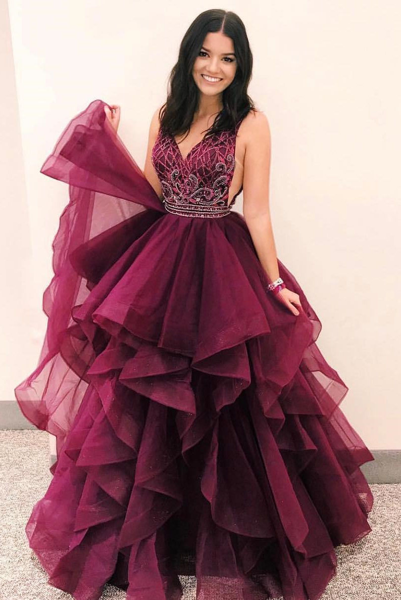 Luxurious V Neck Burgundy Long Prom Dress