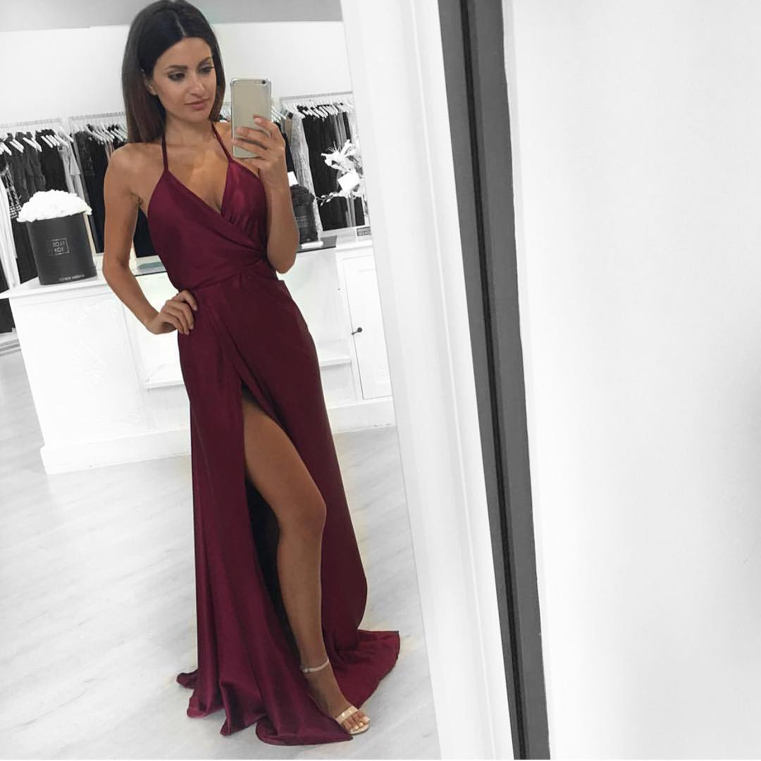 b6e66db6ecc Sexy A-line Long Burgundy Prom Dress Evening Dress With Slit on Luulla