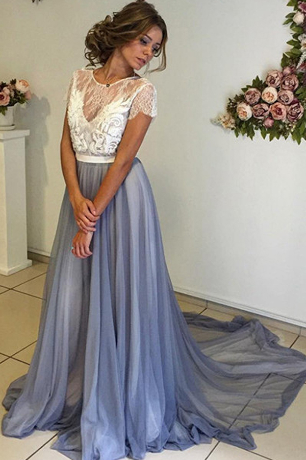 2017 Long Prom Dress, Long Light Blue Prom Dress With White Lace Top ...