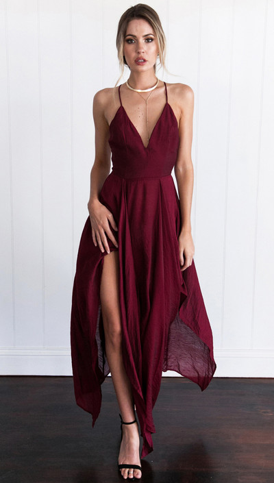 218bd202b3c Sexy Straps V-neck Long Burgundy Chiffon Prom Dress Homecoming Dress ...