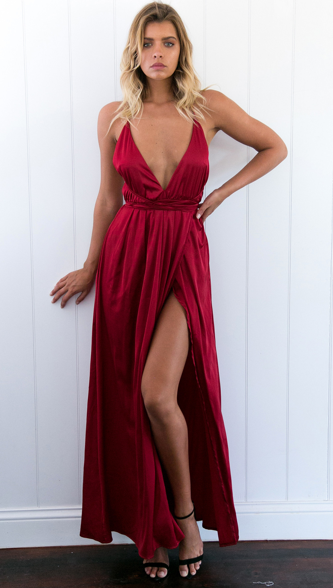 ea59fb03f0 Sexy V-neck Long Dark Red Prom Dress Evening Dress with Criss Cross Back