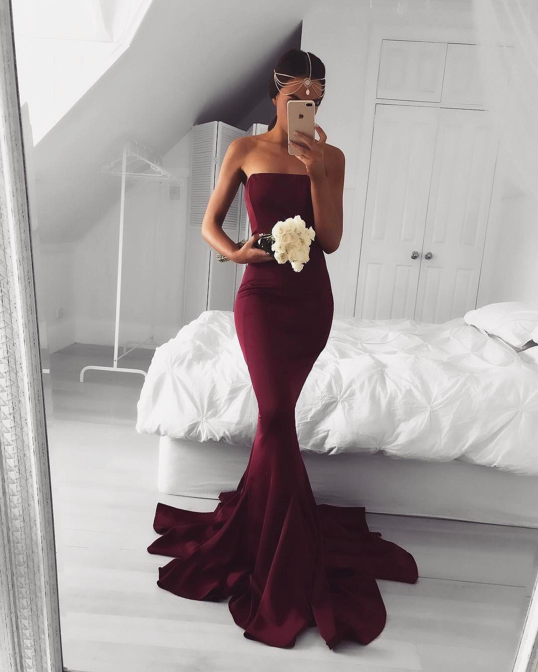 9e4bc62c9f6 2017 Sexy Strapless Burgundy Mermaid Long Prom Dress Formal Evening Dress
