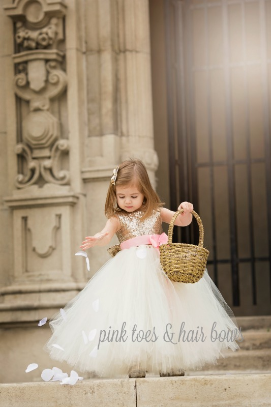 c0c70367b6a78 Adorable A-line Sparkly Sequins Long Tulle Flower Girl Dress