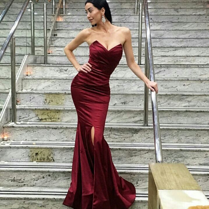 5c4b3016b205e Sexy Strapless Dark Red Mermaid Long Prom Dress With Slit on Luulla