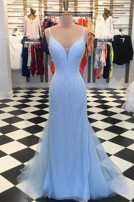 d12cf967547 Blue Spaghetti Strap Plunging V Sequined Mermaid Floor-Length Prom Dress
