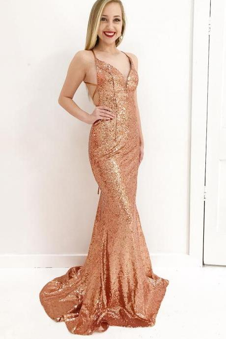 f7a9e992832 Sparkly Gold Sequins Mermaid Long Prom Dress