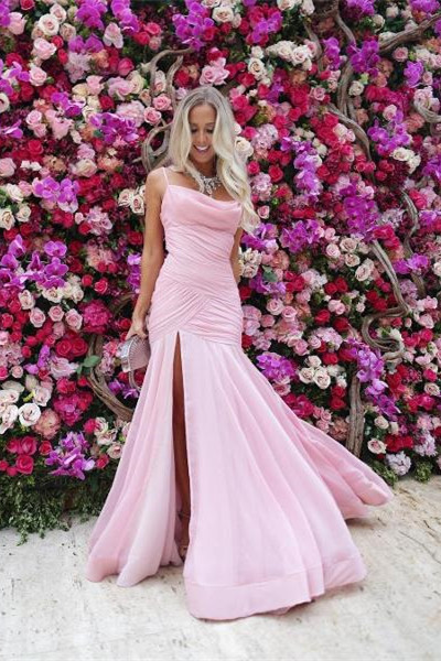 Sexy Straps Pink Mermaid Long Evening Dress with Side Slit