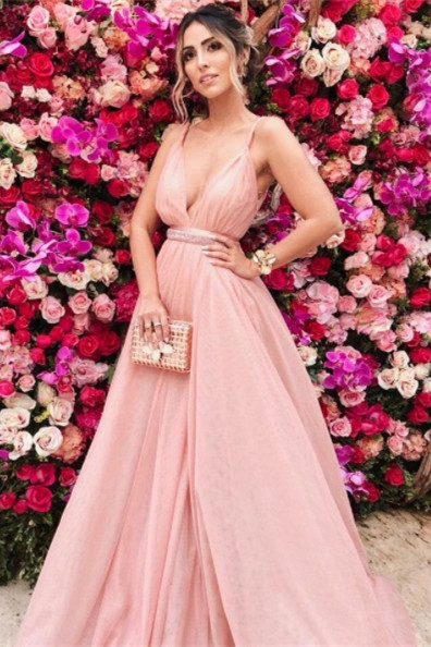 Sexy Straps Deep V Neck Pink Long Prom Dress with Backless