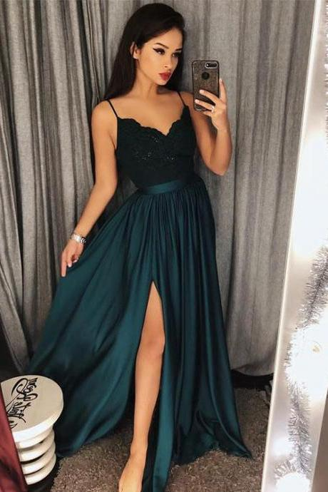 Princess Straps Dark Green Long Prom Dress Party Dress