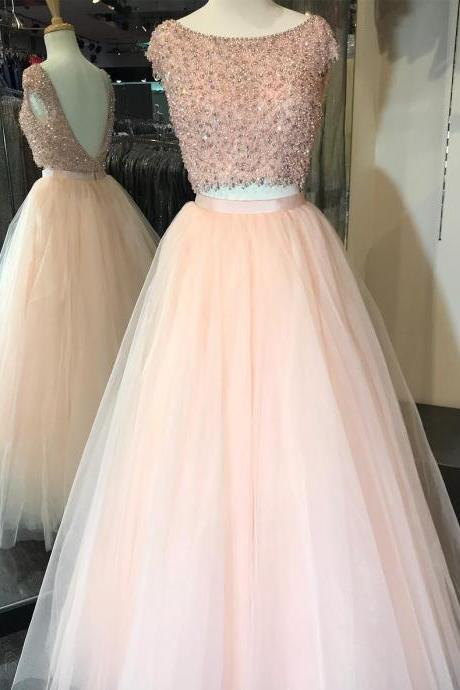 Luxurious Two Piece Pink Long Ball Gown