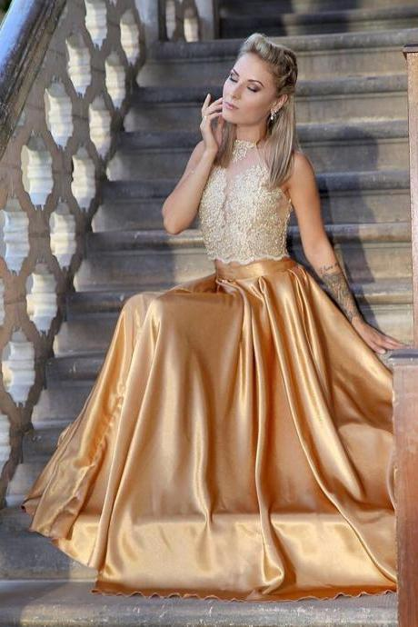 Princess Two Piece Gold Long Prom Dress
