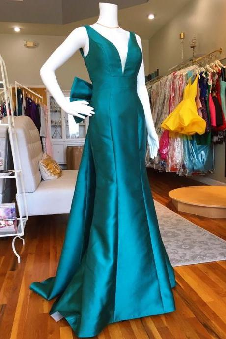 Eleagnt V Neck Turquoise Mermaid Long Prom Dress with Bow