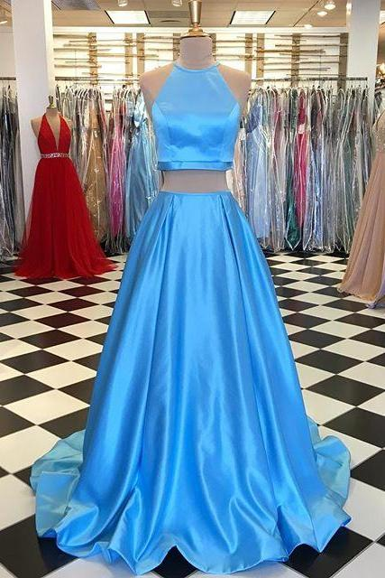 Simply Two Piece Blue Long Prom Dress