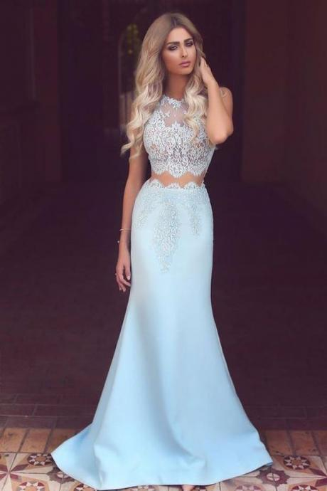 Gorgeous Two Piece Light Sky Blue Mermaid Long Prom Dress
