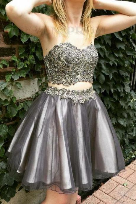 Princess Two Piece Sweetheart Short Brown Party Dresses