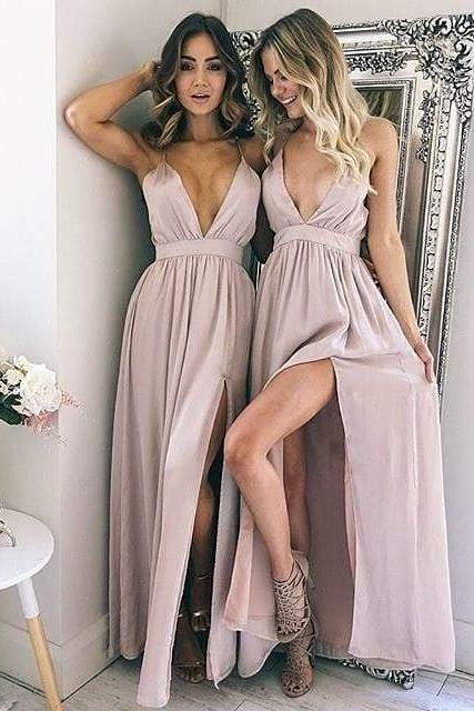 Sexy Deep V Neck Pink Long Party Dress with Side Slit