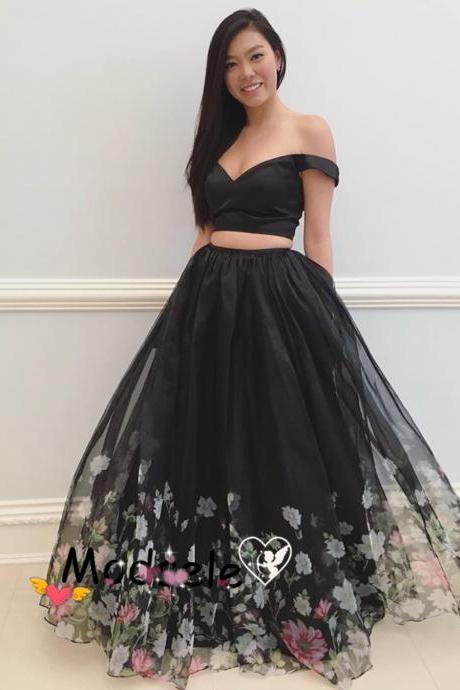 Unique Off the Shoulder Two Piece Black Floral Long Prom Dress