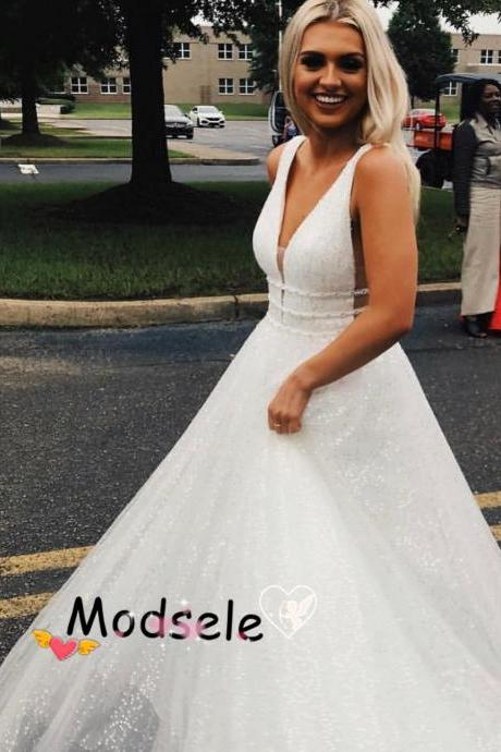 Sparkle A-line White Long Prom Dress