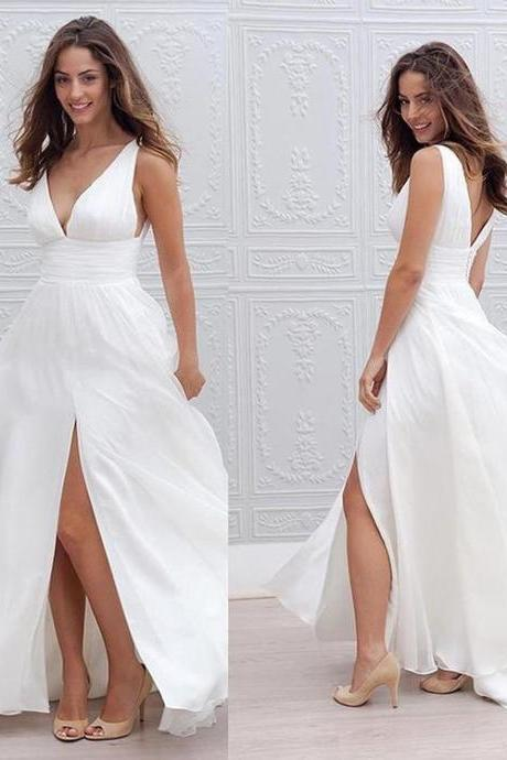 Simple Boho White Long Wedding Dress