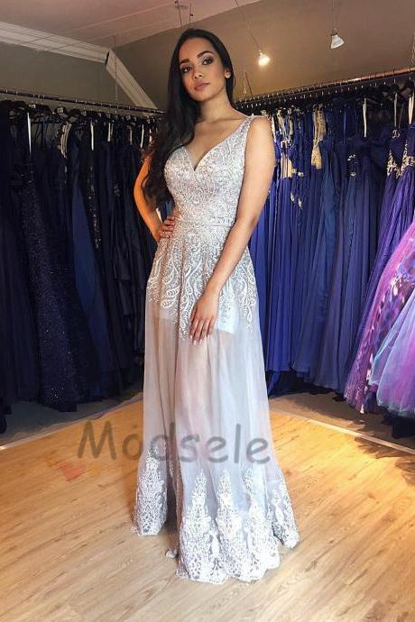 09571cf607d Gorgeous Silver See Sheer Long Prom Dress