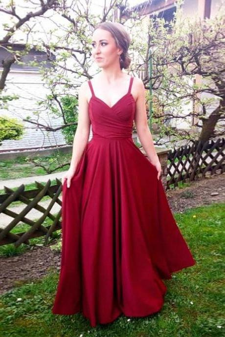 76378290444 Simple Red Long Prom Dress