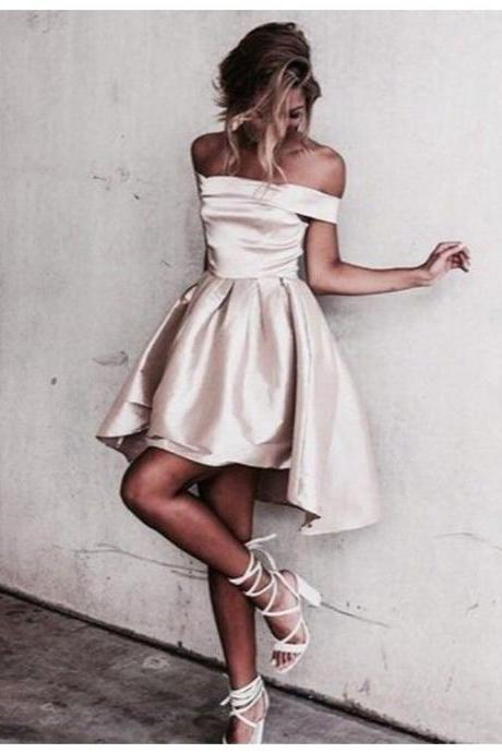 Cute Off the shoulder Short Light Champagne Prom Dress Homecoming Dress