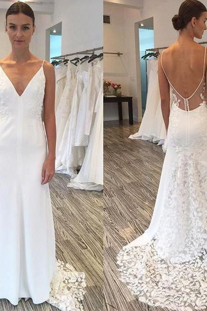 Gorgeous Spaghetti Straps Mermaid Long Wedding Dress with Lace Train