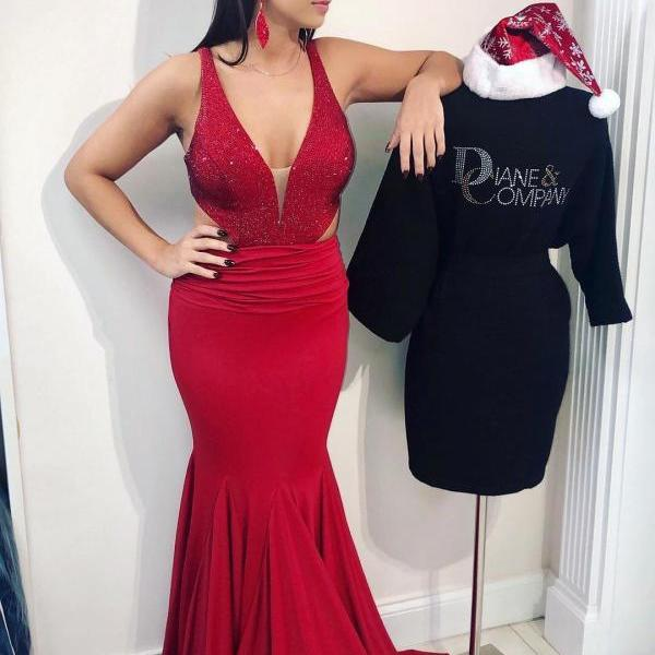 Gorgeous Mermaid Red Long Evening Dress Prom Dress